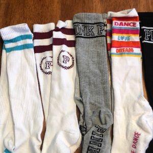 Pink Victoria's Secret knee-high socks bundle